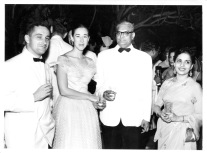 Solberg cocktail, Oct. 1956: Maurice? of French Bank, Eloise, K.R. Patel, Mrs. Ram Chugani