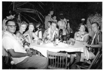 June 1956 at American Men's Club: (Unknown), Mary Maroney, Miss Basile, Jim Maroney, Dorie Hutchinson, George