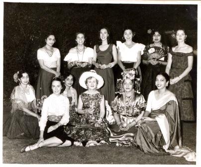 """The Ladies in Hades"" Standing: Bashu Sen, Carol McWhuter, Eloise, Bobbi Killmer, Boochie Das, Jean Narayan. Seated: Minu Mookeyea, Jane Turner, Bella Gilani, Ina Boulton, Moni Mullick, Moyna Seth"
