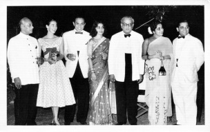 March 28, 1957: Cocktails at Mr. & Mrs. J.P. Mitter: Mr. Mitter, Eloise, Rudy Gontha, Mrs. Mitter, Chief Justice M.C. Chagla of Bombay, Cootie Ramanaya, Tiny Sen