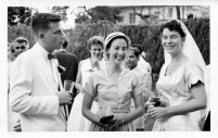 Wedding reception of Arleen May Elmendorf and Richard Malcolm Kelly, Sat. 8th June, 1957. This is at Charlie and Betty Shannon's in Alypore. Mary Hawthorne and Ronnen Dalta in background.