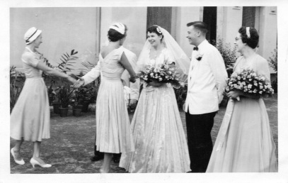 Wedding reception Sat. 8th June 1957: Eloise about to shake hands with Bob Thompson, girl ahead unidentified, Arleen, Dick Kelly, Helen Thompson