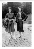 """c. Oct. 1962: """"At our house in McLean:"""" Eloise and Jean Rathbun Conningham on the patio under construction, """"when Jean was on a trip with Ken."""""""