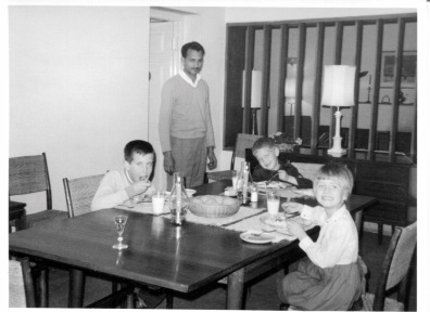 Feb. 1965: Kulinder and kids at dinnertime.
