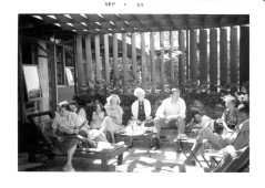 Eloise, Jean, Susan, Ginny, Grandmother Rathbun, Alvin, Eric, Larry and unidentified at Rathbun home in Portola Valley, CA, Sept. 1955