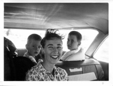 "Sept. 8, 1963, road trip: ""On our way to Swat. Louisa is asleep behind Frank."""