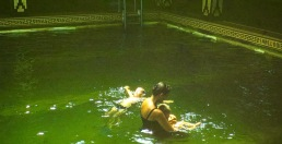 Eloise with Michael and Frank in Colombo pool