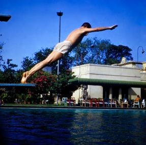 George diving at Colombo swimming pool
