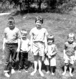 Michael, Frank, Ann Walton (Michael's pal), Louisa, Cathy Walton (Frank's pal)